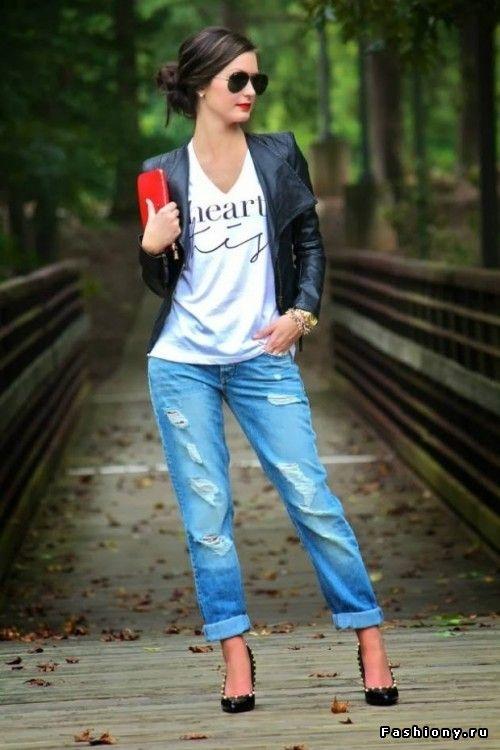 Образы с джинсами бойфрендами часть 1 / модный лук с джинсами