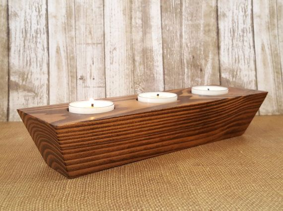 Wooden Tea Light Holder  Tea Light Candle by SugarBelleCandles