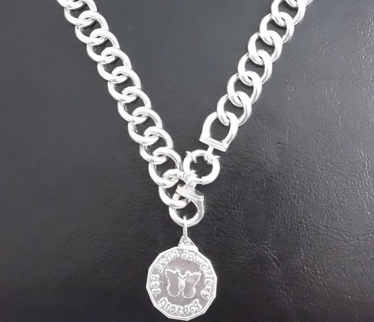 Solid sterling 925 silver curb link Necklace with isabella jewellery solid sterling silver stamped coin by IsaBellaJewellery on Etsy