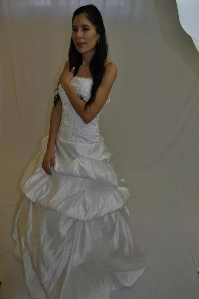 Wedding dress. unedited. White. hair and make-up.