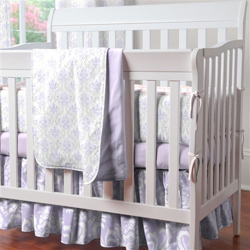 lilac and gray bedding | Lilac and Silver Gray Damask Portable Crib Bedding | Carousel Designs