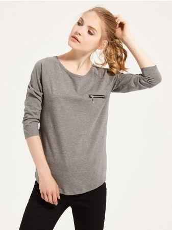 SINSAY - Bluzka z raglanowym rękawem <br><br>Wzrost modelki: 176 cm<br>Modelka ze zdjęcia ma na sobie rozmiar M