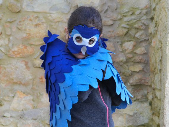 Children Bird Costume Blue Macaw Arara Parrot Wings and Mask