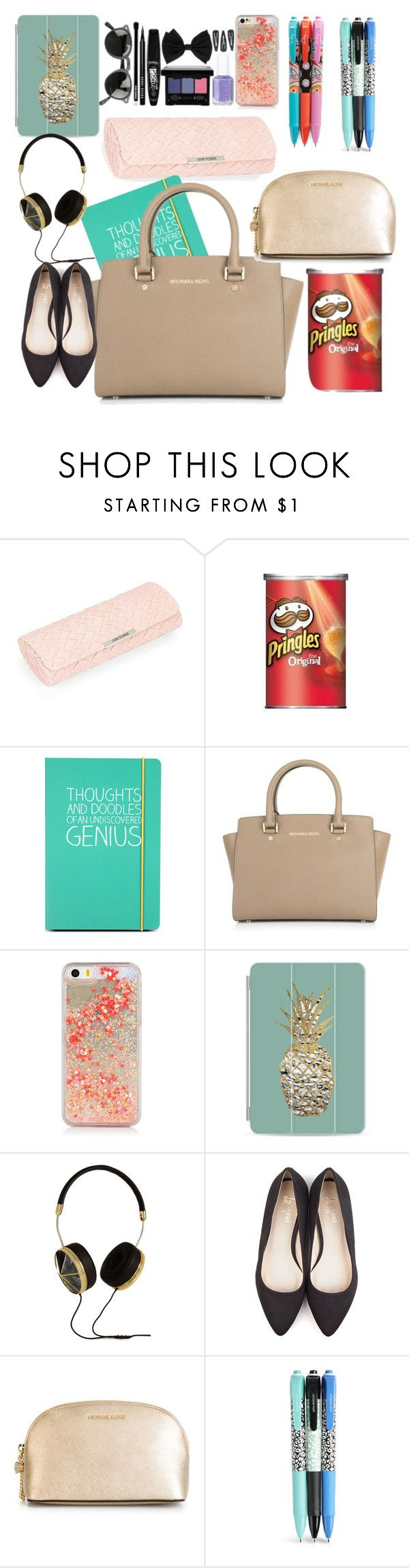 """""""What's in my purse"""" by ebony-kayla ❤ liked on Polyvore featuring beauty, Corinne McCormack, Happy Jackson, Michael Kors, Casetify, Frends, Beyond Skin, MICHAEL Michael Kors and Vera Bradley"""