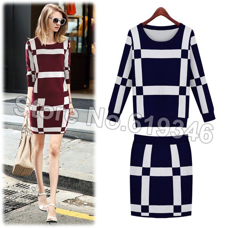 Cheap sweater pullover, Buy Quality sweater blouse directly from China sweaters made in china Suppliers: Women 2014 Autumn Winter Fashion Slim Sexy Elegant Houndstooth Plaid Knitted Patchwork Short Sleeve A-line Casual Dresse