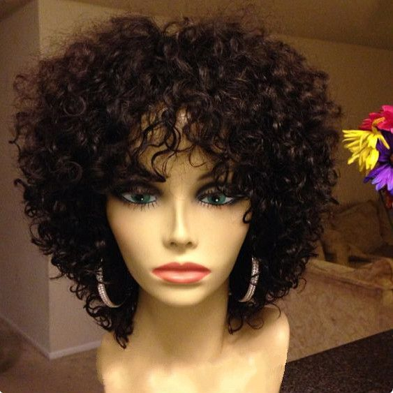 "12"" Kinky Curly Wigs African American Wigs The Same As The Hairstyle In The Picture - Human Hair Wigs For Black Women"