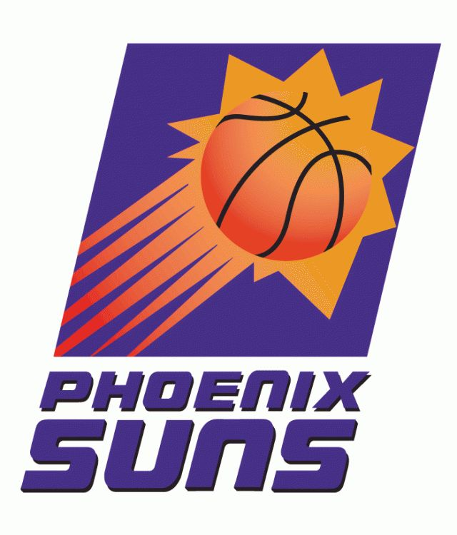 Phoenix Suns Primary Logo (1993) -  Sun streaking in a purple box above script