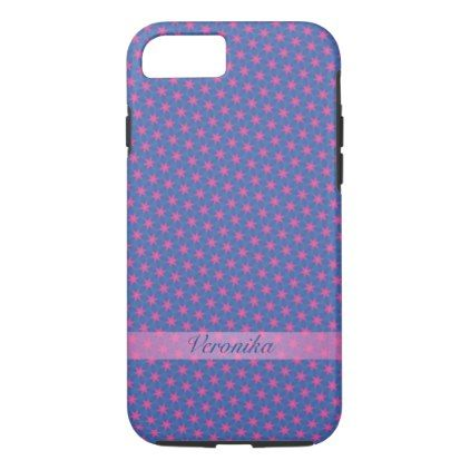 Pink stars on a blue background iPhone 8/7 case - monogram gifts unique design style monogrammed diy cyo customize