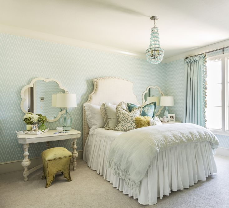 Turquoise Bedroom Decor Bedroom With Turquoise Arteriors Duke Chandelier  And Seaglass Blue Chevron Wallpaper. At Home In Arkansas Part 41