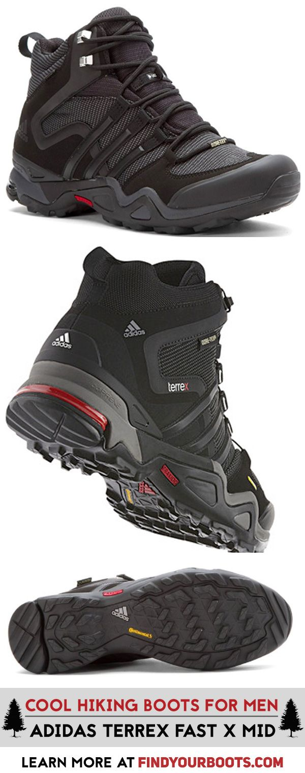 Stylish mens hiking boots. Adidas Terrex Fast X Mid GTX boots. Athletic hiking boots for men.