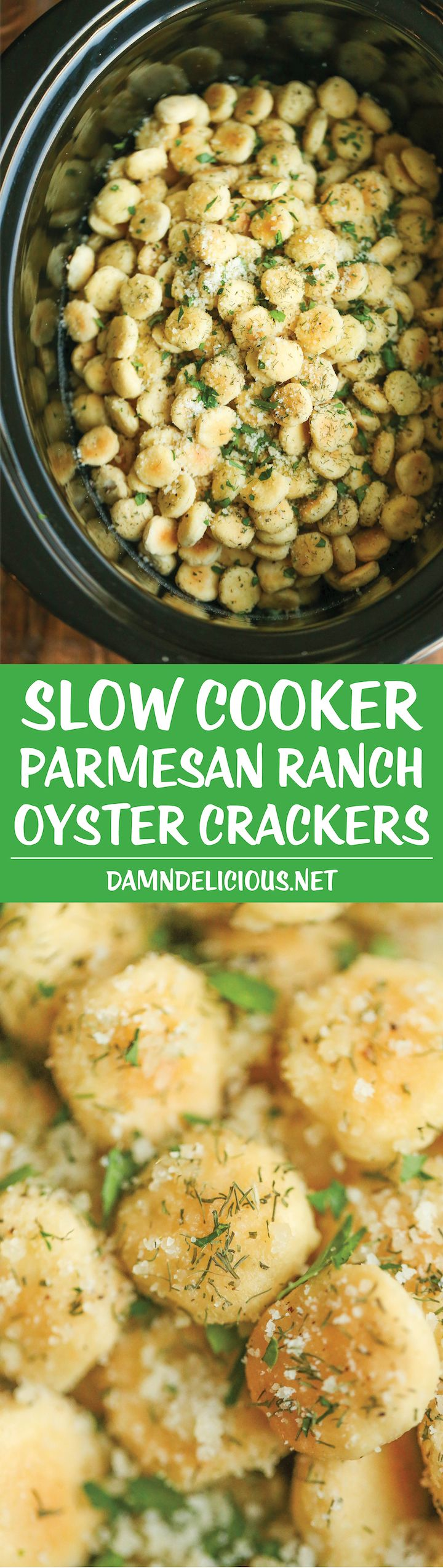 Slow Cooker Parmesan Ranch Oyster Crackers - Perfect for snacking or feeding a…