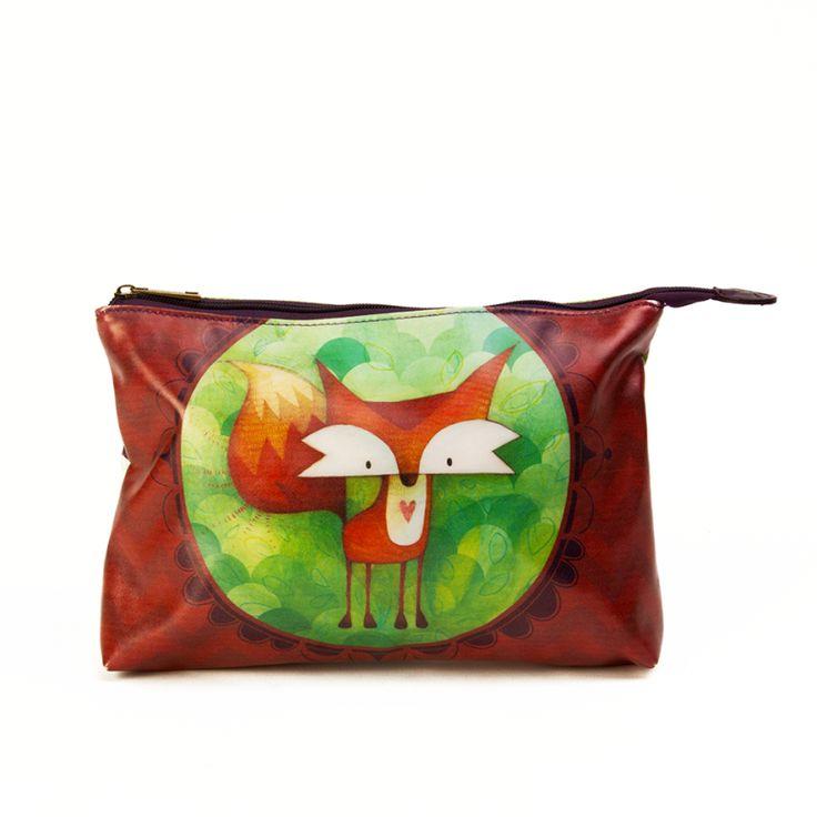 Trousse à Cosmétique Renard KETTO Cosmetic Bag Fox // Trousse en simili-cuir. Intérieur en tissus. Fermeture éclair. // Imitation leather pouch. Fabric interior. Zipper closure. // #TrousseÀCosmétique #CosmeticBag #Ketto