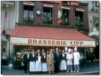 Brasserie Lipp; St. Germain de Pres; Famous, hotspot; reserve a table downstairs.  Tory Burch likes the roast chicken.