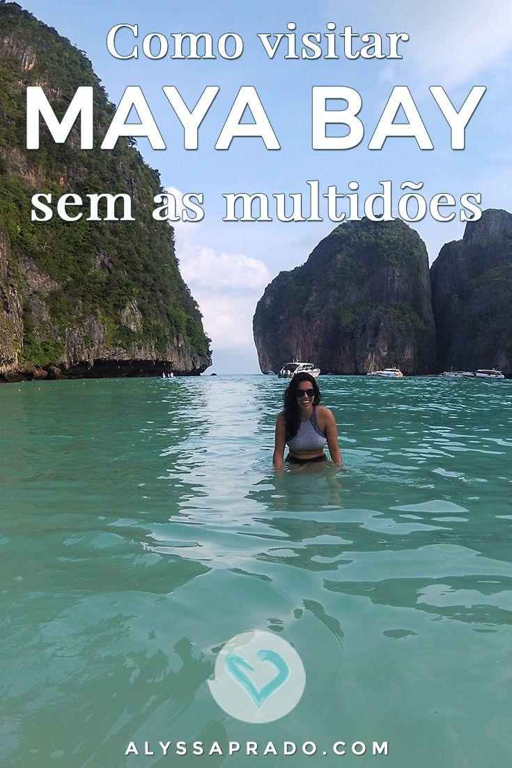 Tentando descobrir uma maneira de vencer as multidões e tirar fotos lindas em Maya Bay, na Tailândia, sem ninguém de fundo? Eu te conto o segredo! Leia tudo nesse post: http://alyssaprado.com/maya-bay-tailandia-sunrise-phi-phi-tour/