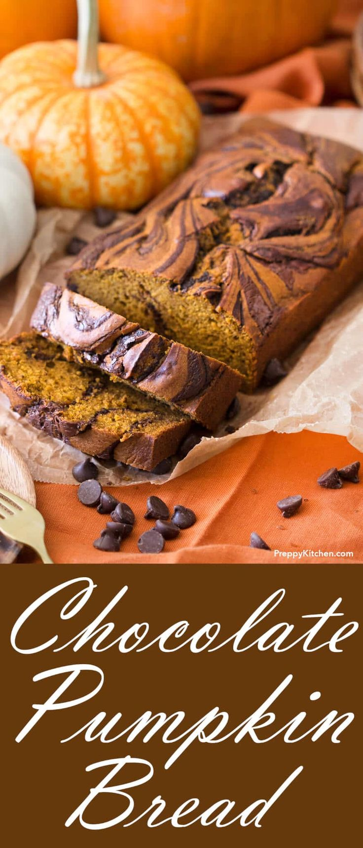 Chocolate Pumpkin Bread via @preppykitchen | Soft, moist pumpkin chocolate cake that's perfect for the holidays.  Quick and easy to make with delicious pumpkin flavors
