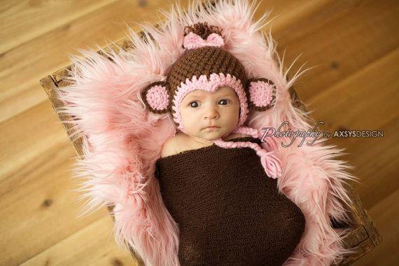 Crochet monkey hat-baby girl monkey hat-photography prop-crochet photo prop-baby hat-moneky K Crochet Designs  cute baby stuff