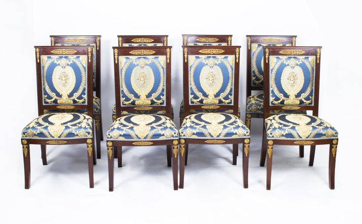 A Rare Set Of 8 Antique Empire Style Mahogany And Ormolu Dining Chairs