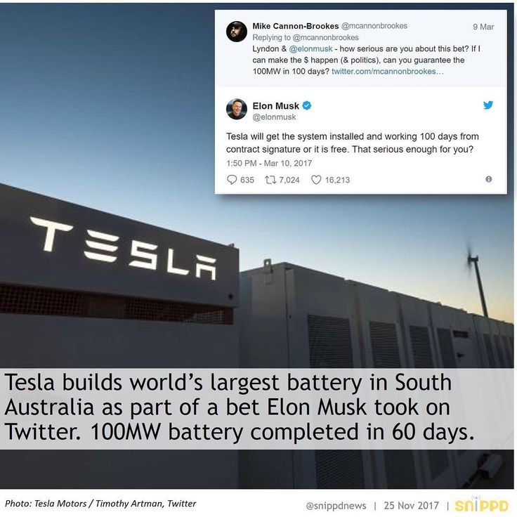 #snippdnews #snippd #follow #news #headlines #topnews #worldnews #tesla #elonmusk #teslabattery #battery #power #electricity #cleanenergy #energy #renewableenergy #renewables #recycling #solarpower #solar #wind #windenergy #earth #southaustralia #australia #australian #adelaide #commitment #bet