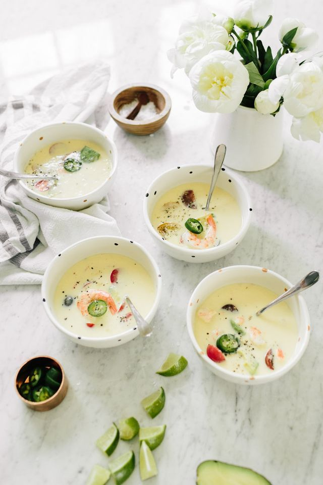 By Natasha Alexandrou We've rounded up a selection of comforting soups and cooling gazpachos to enjoy on the last few days of summer. 1.Southwestern Corn And Shrimp Soup  View the Recipe / Follow Wit