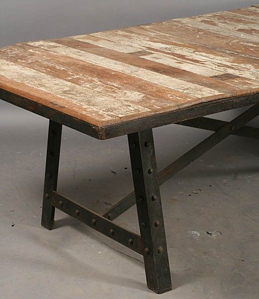 INDUSTRIAL DINING TABLE WOOD PLANK TOP