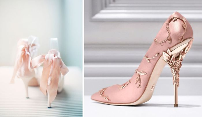 We are currently obsessing over these rose quartz bridal heels.