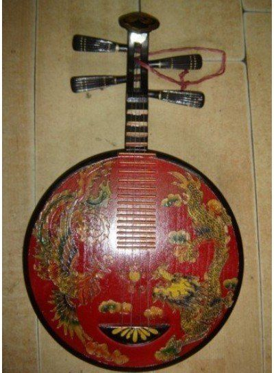 Rare china tibet old antique wood dragon Pipa Lute Musical Instruments Free shipping