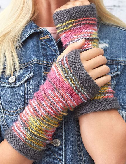Free Knitting Pattern for Ridge Mitts - These fingerless mitts are designed to showcase multi-color yarn with subtle texture and contrasting cuffs. Designed by Erin Kate Archer for Red Heart Yarn.