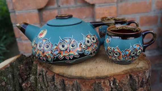 Tea set Owls Teapot set Ceramic pottery Green Owl by CeramaStudio