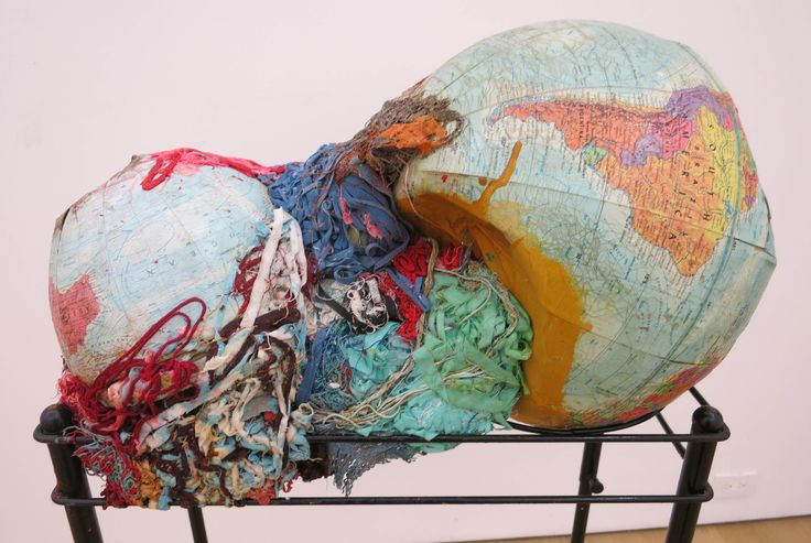 Brooklyn-based Lithuanian sculptor Aidas Bareikis continues to mine the world's junk for his intense sculptural accumulations. Here, 'Too Much Seaweed' suggests a global warming meltdown or a calving of the planet. (At Canada New York on the Lower East Side through Dec 4th). Aidas Bareikis, Too Much Seaweed, globes and fabric cut-offs on flower pot stand, 50.5 x 21.5 x 12 inches, 2016.