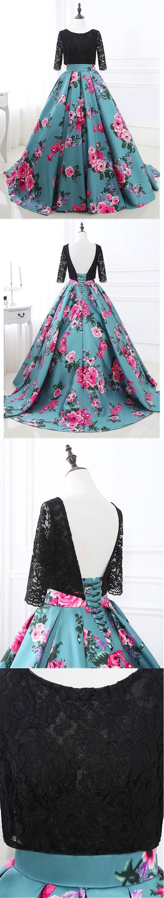 Print Prom Dresses,Floral Prom Dresses,Prom Dresses with Sleeves,Ball Gown Prom Dresses,Long Prom Gowns,Floral Pageant Dresses #prom #prom2K18 #prom2018 #pageant