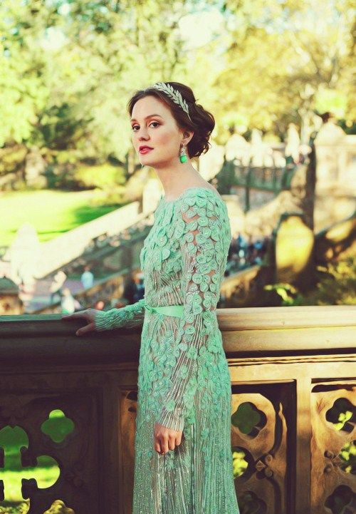 Blair Waldorf in her Elie Saab wedding gown, although this photo makes it look more green than its actual powder blue.