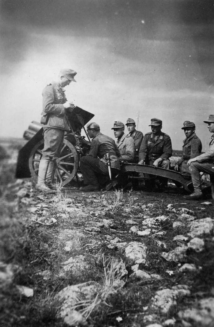 German Gunners Deploy A 75 Mm Skoda Mountain Gun 1915 In North Africa, 1942  Desert War 1942 1943  Pinterest  Africa, Guns And North Africa-1636