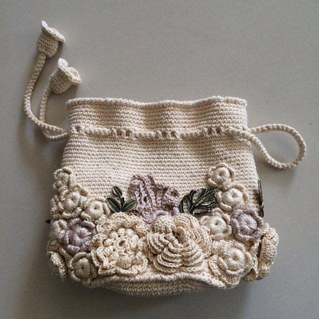 Bag small handmade Irish lace. Crochet, decorated with flowers. Style boho, retro