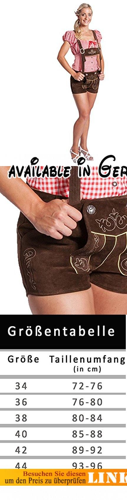 Damen Trachten Lederhose kurz mit Hosenträgern - Original FROHSINN dunkelbraun (38). Sexy Damen Trachten Lederhose kurz mit Hosenträgern. Durch das Naturprodukt Leder paßt sich die Hose perfekt Ihrem Körper an und zaubert eine fantastische Figur. Aufwendige und traditionelle Stickereien befinden sich am Hosenlatz sowie am Hosenbein. Die kurze Damenhose der Marke FROHSINN® ist eine sehr robuste und universelle Alltagshose, nicht nur für das Oktoberfest. Pflegehinweis:
