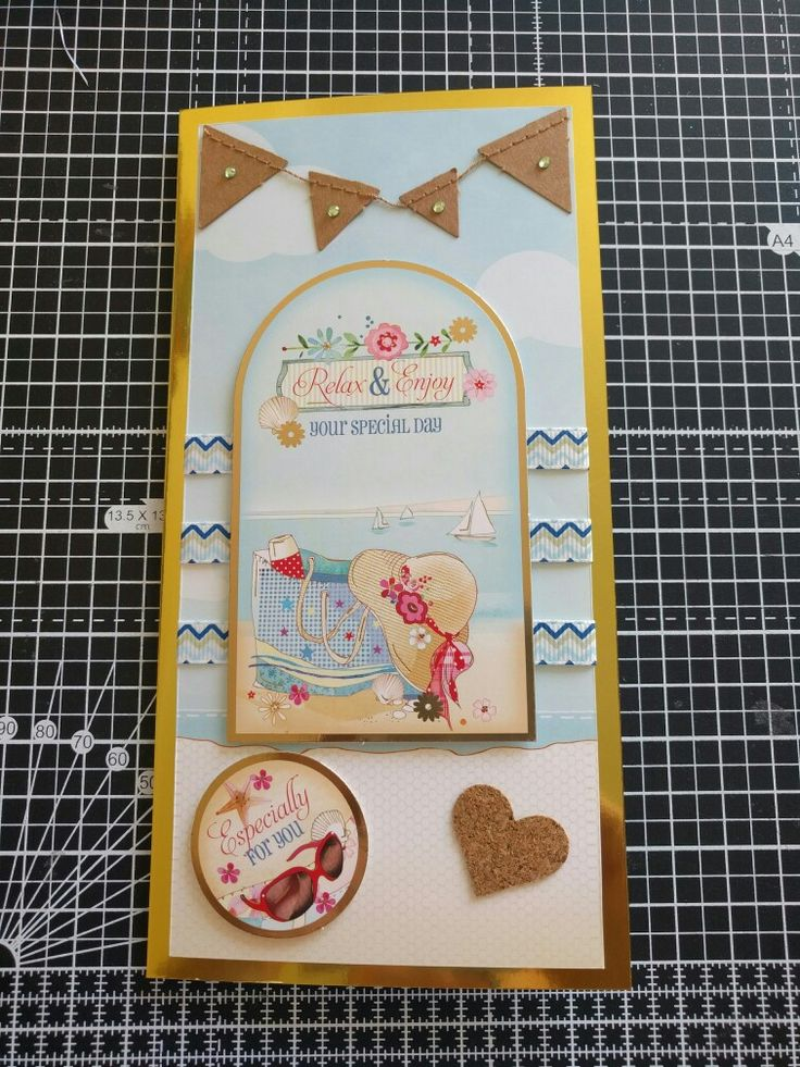 Hunkydory Crafts Sun Sea and Sandcastles Collection. Beach card with ribbon and cork embellishments.