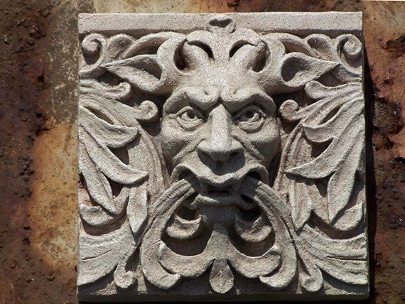 Green Man Satyr Architectural Detail Cast Stone Relief Sculpture Victorian Gothic