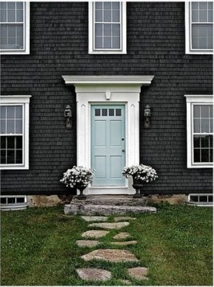 Dark Gray House With White Trim And Powder Blue Door