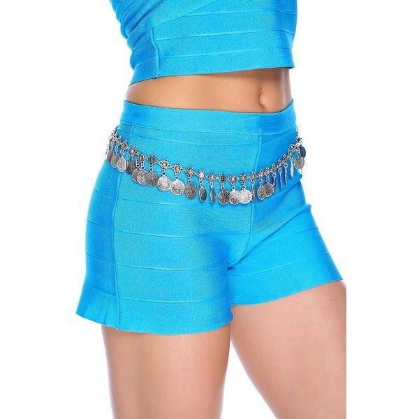 Aqua Bandage Shorts ($50) ❤ liked on Polyvore featuring shorts, short denim shorts, petite shorts, hot short shorts, micro denim shorts and mini shorts