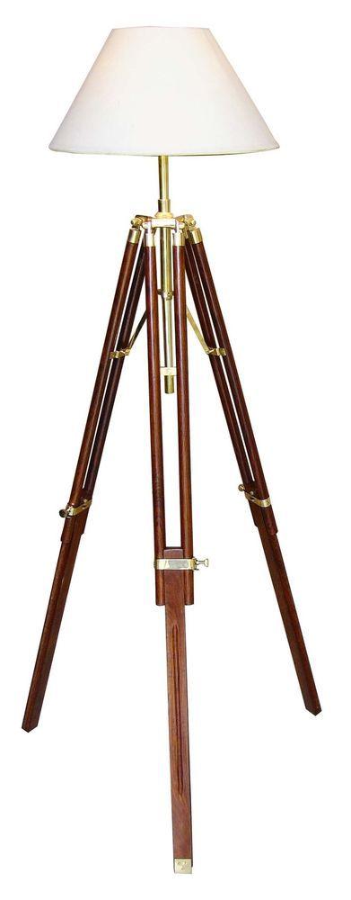 Inspirational Details zu Stehlampe Kolonialstil Tripod Dreibein Stativ Holz Messing cm Schirm cm