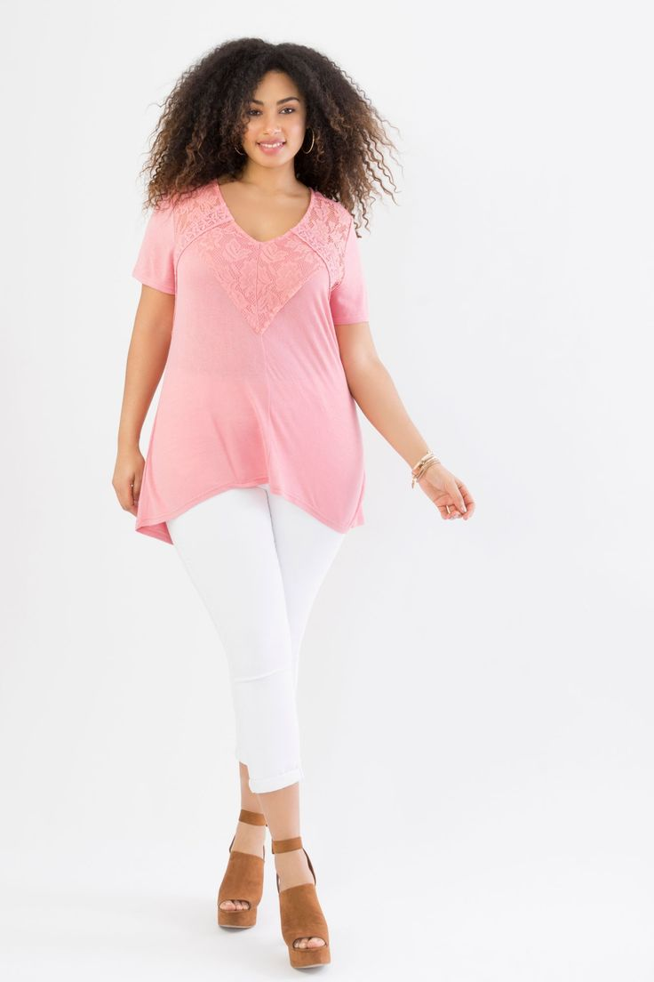 Suzy Shier Hatchi Lace and Crochet Tee