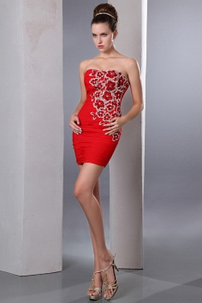 Sweetheart Sheath-Column Chiffon Evening Gown wr0902 - http://www.weddingrobe.co.uk/sweetheart-sheath-column-chiffon-evening-gown-wr0902.html - NECKLINE: Sweetheart. FABRIC: Chiffon. SLEEVE: Sleeveless. COLOR: Red. SILHOUETTE: Sheath/Column. - 135.59