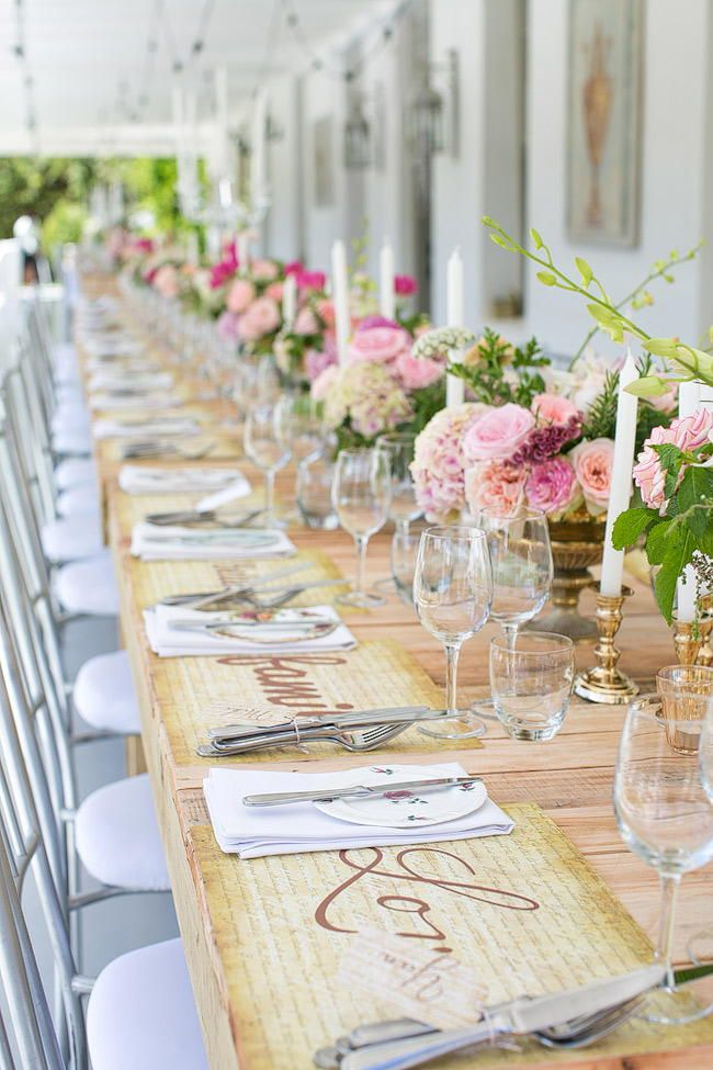 Wedding Decor: Outdoor Spring Tablescape / Totally Gorgeous Glitter Blush Pink Gold South African Wedding / Adene Photography /