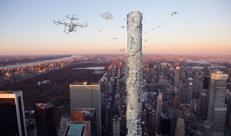 Proposal for a skyscraper for drones intended to deliver packages in NYC.
