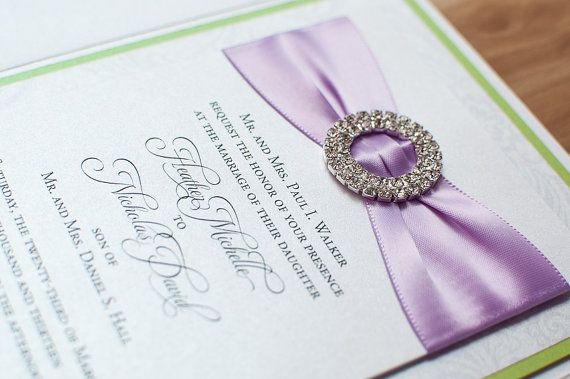 Bling & Satin Wedding Invitation in Luxe African Violet and Tender Shoot
