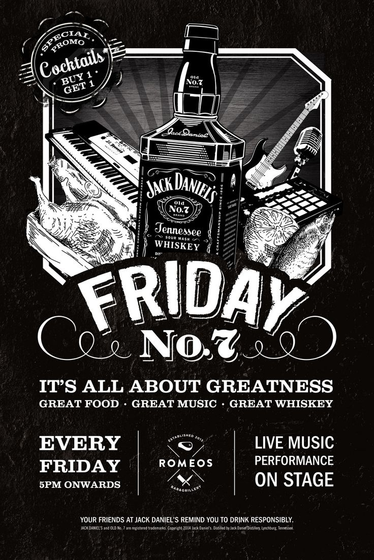 Hello Friday ! It's Friday No. 7 by Jack Daniels . Special promo Buy 1 get 1 our Premium Cocktails starts from 5pm - onwards. Don't miss out live music performance to rock you tonight! It's all abo...