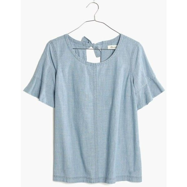 MADEWELL Chambray Tie-Back Top ($70) ❤ liked on Polyvore featuring tops, fern wash, triple top, blue top, chambray top, bow top and cut out top