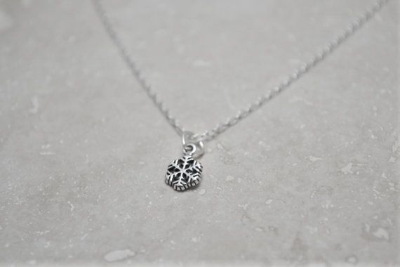 Tiny Sterling Silver Snowflake Necklace - gift for girl, 925 stamped s