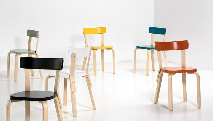 Chair 69 from Artek, designed by Alvar Aalto in 1935 in new Paimio colors—black, white, green, orange, turquoise, and yellow