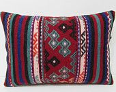 red accent pillow 16X24 kilim rug pillow rustic bedroom couch pillow cover red couch cushion embroidered cushion red kilim pillow sham 28533