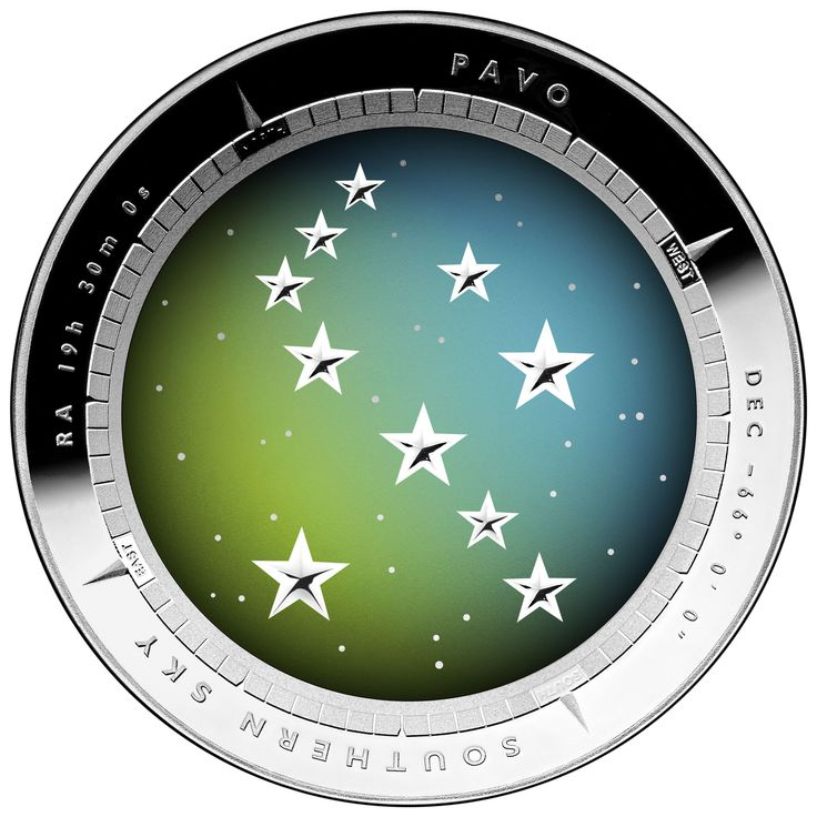 The gorgeous iridescent design on the reverse of our 2013 Pavo Southern Skies Silver Proof Colour Printed $5 Domed Coin.